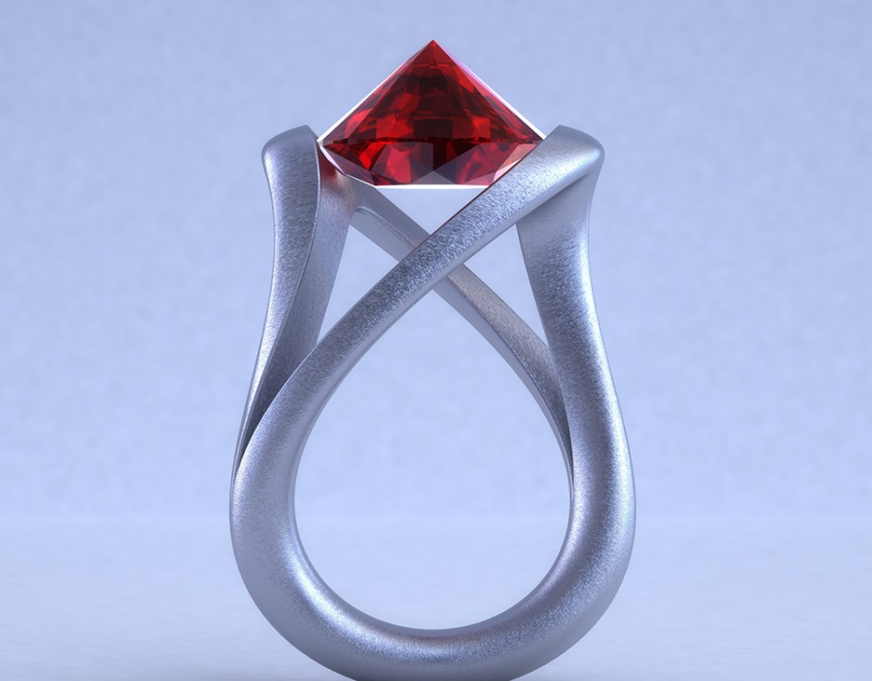 Bypass tension Ruby ring